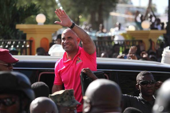 Prime Minister Lamothe visiting Port-de-Paix, the administrative capital of the Northwest District.